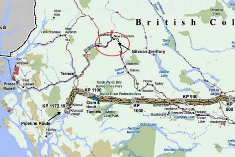 Pipeline map - Gitxsan territory