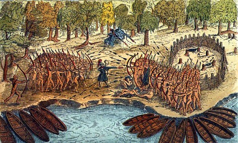 Battle between Iroquois and Algonquian tribes near Lake Champlain