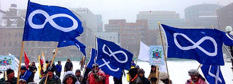 Métis flags at rally on Parliament Hill for opening of Parliament, January 28, 2013