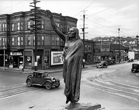 Chief Seattle statue at Fifth and Denny, 1936 ( Seattle Municipal Archives)