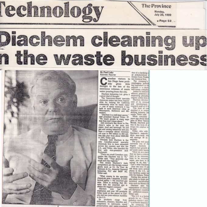 Konrad J. Tittler Diachem days-The Province news 1990-1