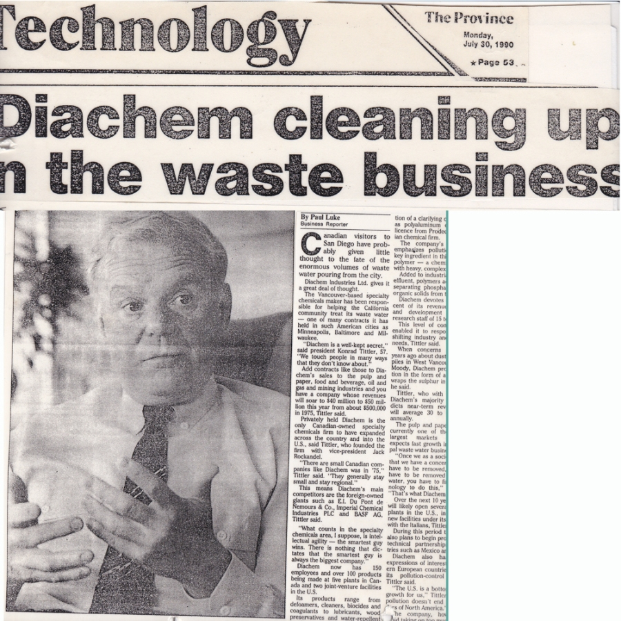 Konrad J. Tittler Diachem days-The Province news 1990-1