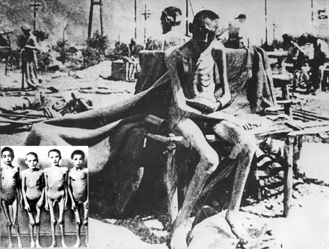 Emaciated survivors after liberation, 1945. It is estimated that 1.1 million people died at Auschwitz during its nearly five years in operation.