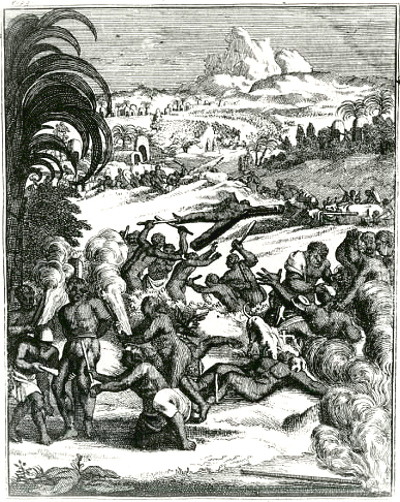 Illustration from Hennepin's 'A New Discovery of a Vast Country in America', titled 'The Cruelty of The Savage Iroquois'