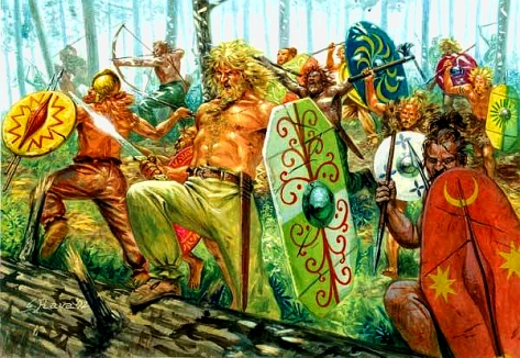 Early Germanic warriors. Ariovistus' Suebi were one of the most aggressive Germanic tribes (Artwork by G. Rava)