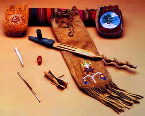 Sacred pipe, Medicine Bundles and Tobacco Roll (RCMP)