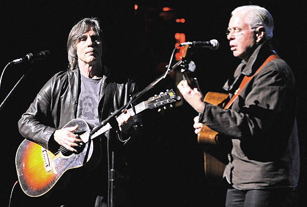 "Jackson Browne and Bruce Cockburn perform at the ""Bring Leonard Peltier Home 2012"" Concert at The Beacon Theatre on December 14th, 2012 in New York City."