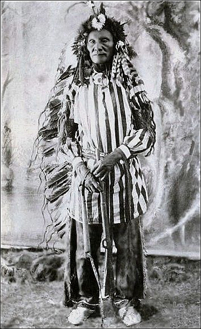 Chief Crazy Bear in Ghost Dance Suit. Killed at the battle of Wounded Knee.