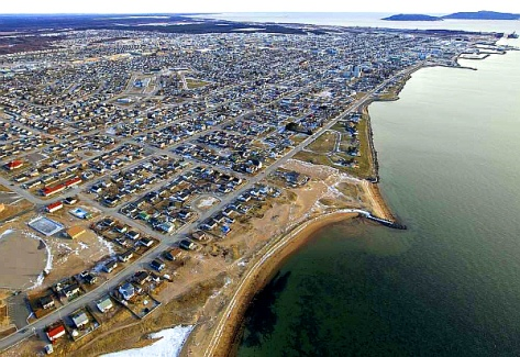 Uashat, with the town of Sept-Îles in the top third of the photo. Maliotenam is in the distance at the top of the photo PHOTO: (Phil Carpenter- Montreal Gazette)