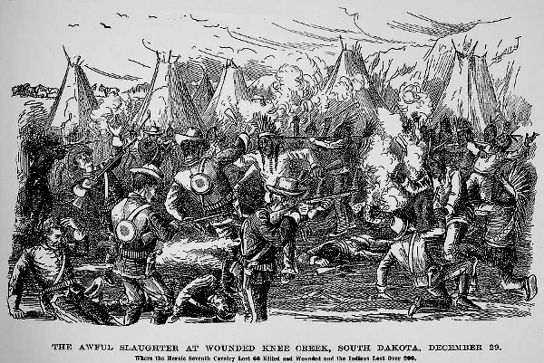 Wounded Knee Creek, 29 December 1890. Seventh Cavalry Lost 66 Killed and Wounded. Indians Lost Over 200. Wood engraving, 1890s.