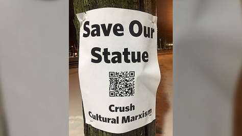 'Save Our Statue' poster (APTN)
