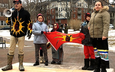 Mi'kmaw 'Warrior' Toby Condo where Cornwallis statue stood. (APTN)